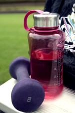 rouges, plastique, eau, bouteille, sport, pourpre, haltères