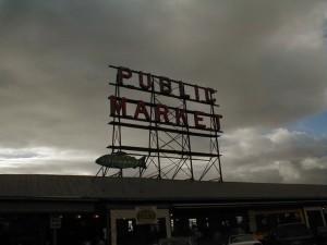 štika, místo, trh, Seattle