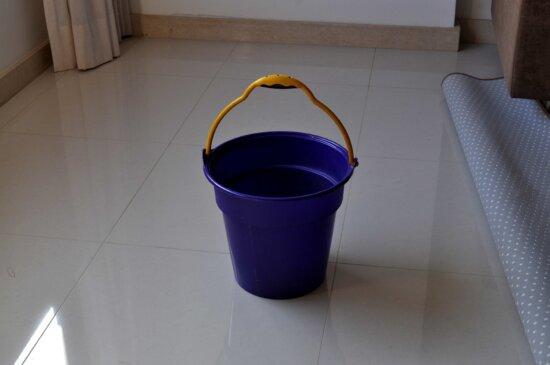 plastic, bucket, scrubbing, tiles