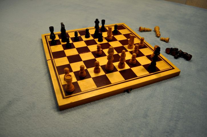 playing, chess, table