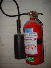 red, carbon, dioxide, fire, extinguisher