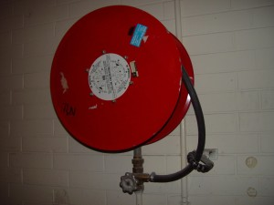 red, fire, hose, reel