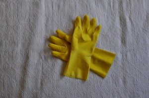 Gummi, Handschuhe, weißer Hintergrund