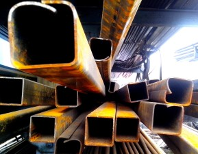 rusty, metal, pipes, stacked