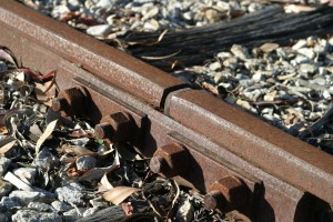rusty, rails, fishplate