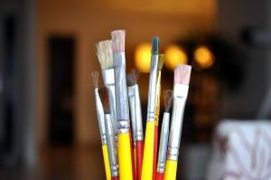 plusieurs, pinceaux, peinture