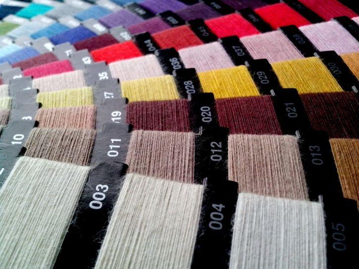 kolorowe, nici, farby, numery