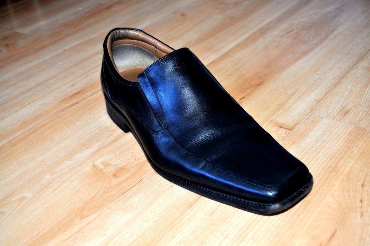noir, mâle, élégant, cuir, chaussures