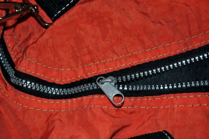 black, metal, zips, red, canvas