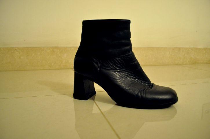 black, women, boots, heels