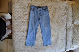 синій, джинси, брюки, ліжко