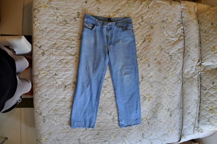 plava, traperice, hlače, krevet