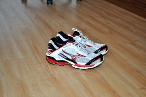 new, modern, running shoes, floor