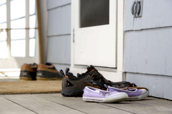 kengät, pari, doormatt, ulko-ovi, kuisti