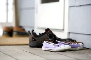 chaussures, porte d'entrée, doormatt, maison