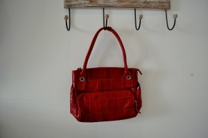 woman, red, handbag