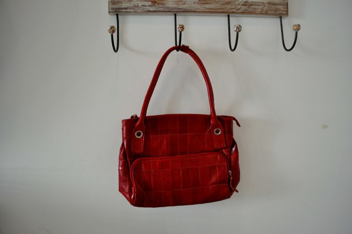 woman, red, handbag