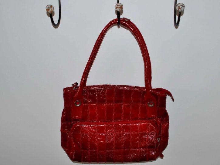 woman, red, handbag, hanging, hanger