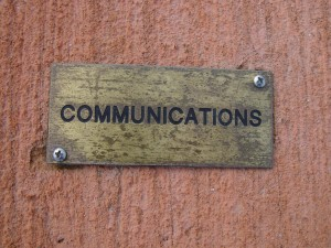 brass, plaque, concrete, communications