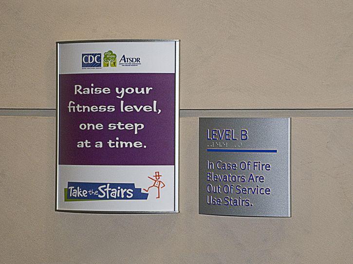 encouraging, employees, visitors, stairways