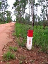 en bordure de route, signe, indiquant, danger, les mines terrestres