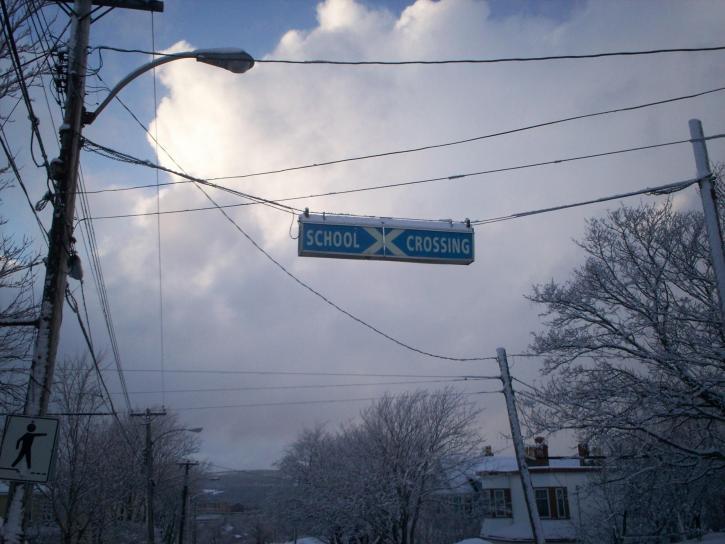 école, croisement, signe