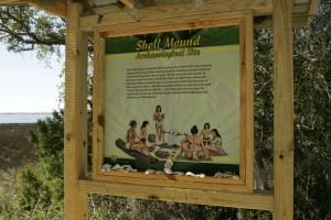 cáscara, montículo, arqueológico, sitio, señal