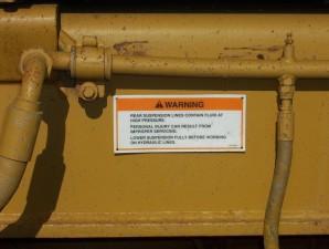 advertencia, etiqueta, suspensión, el trabajo, descarga, unidad