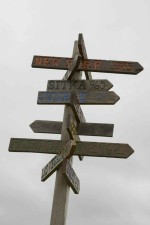 madera, poste indicador, cruces