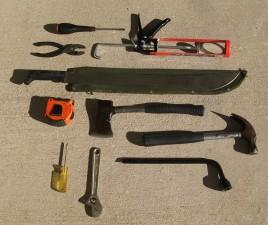 outils, divers, tournevis, scie