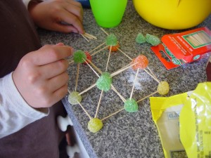 construction, pyramid, tatrahedron, sugar, candies, playing