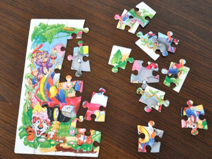 half, completed, jigsaw, puzzle, kids