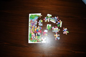 puzzles, children, table