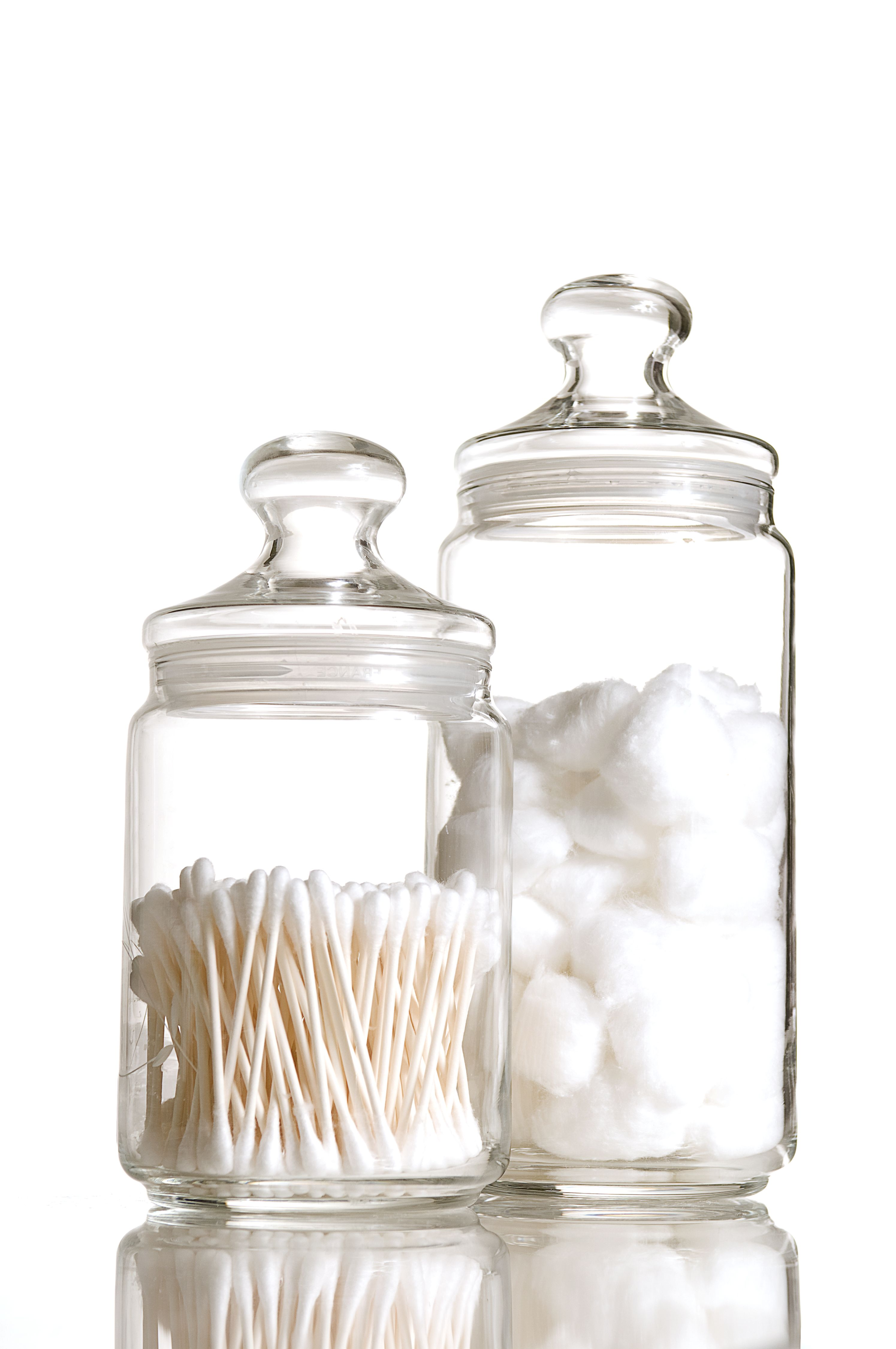 two, glass, jars, sterile, cotton, balls, tips