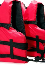 life vest, life jacket, bright red