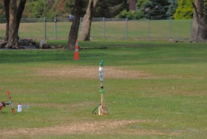 eau, fusée, prêt, lancement
