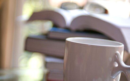 blanc, céramique, café, tasse, premier plan, devant, pile, livres
