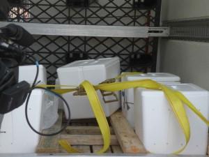 bijeli, plastični, kontejnera, kutija, povezati