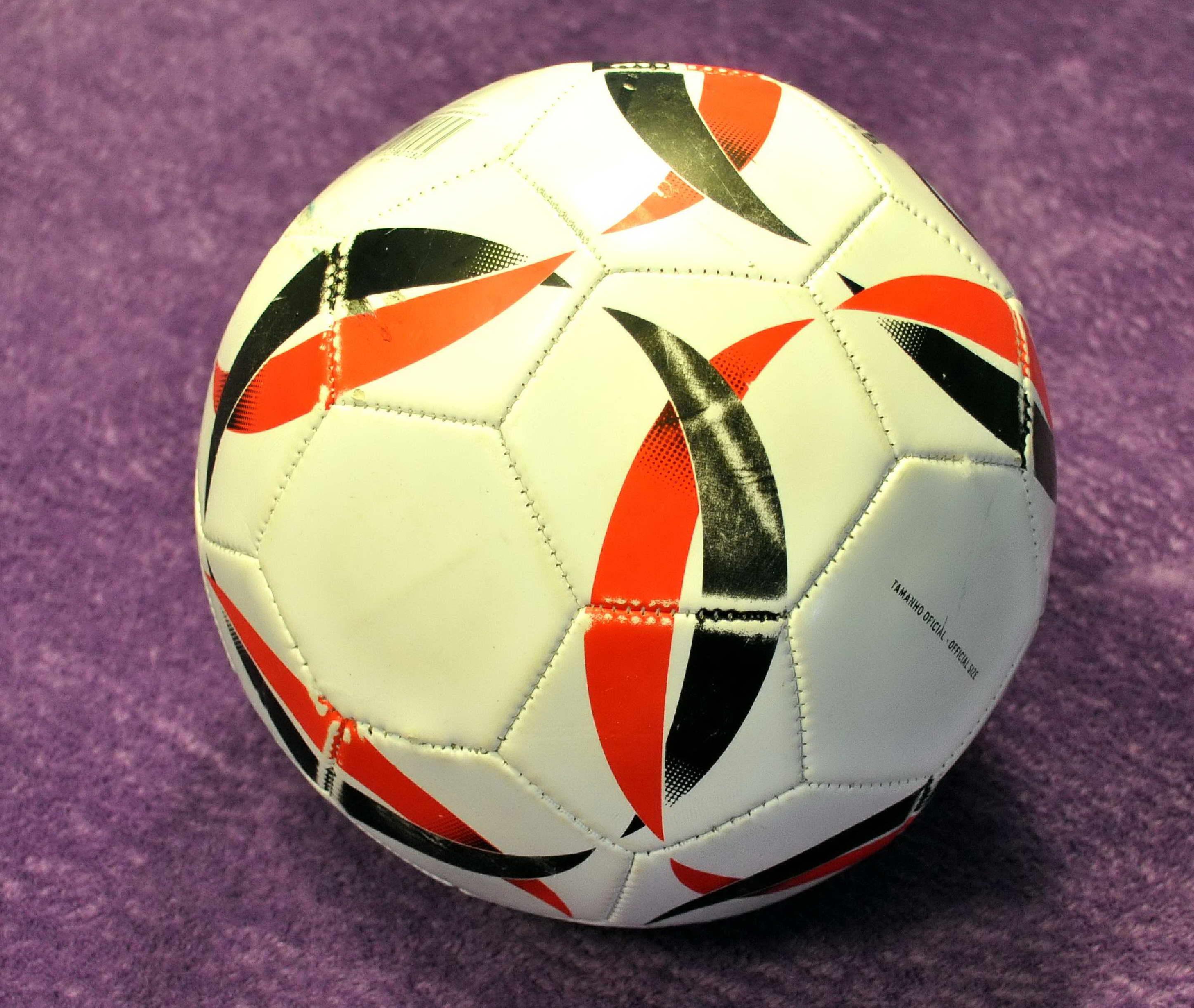 Free photograph; white, soccer, ball, red, black, stripes