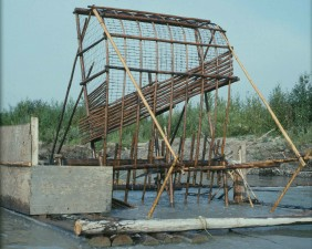 wooden, subsistence, fish, wheel, river