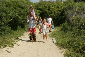 family, heads, beach