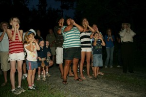 group, children, adults, night