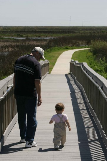 man, toddler, leisurely, walk, boardwalk