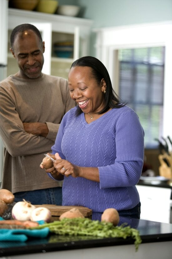 African American, couple, sharing, preparation, healthy, meal