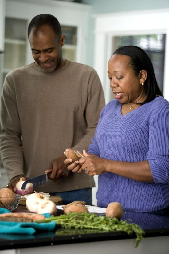 African American, couple, work, kitchen