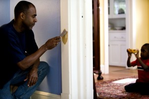 African American, father, process, repairing, interior, door, frame
