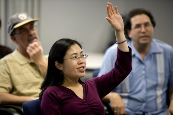 Asian, American, woman, attendees, town, hall, meeting