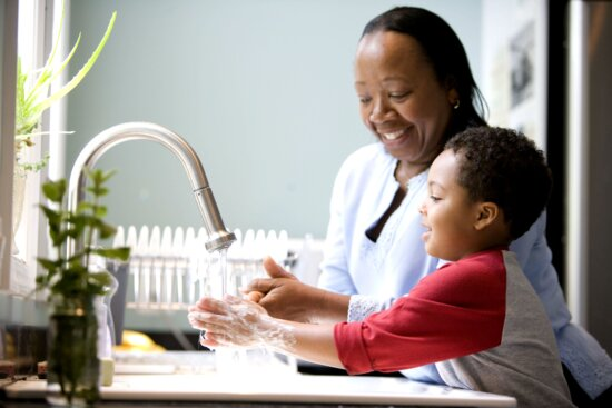 boy, mother, laughing, kitchen