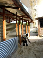 garçon, travail, maison, sable, projet, Sri Lanka