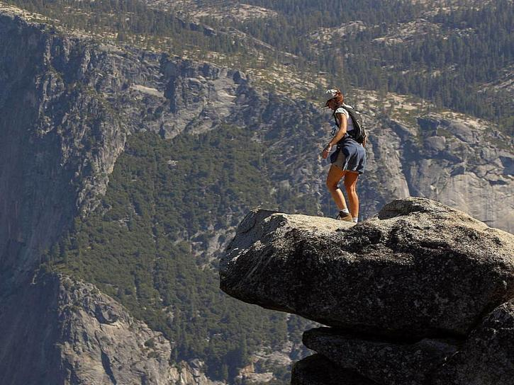 Free picture: brave, person, walking, glacier, point, ledge